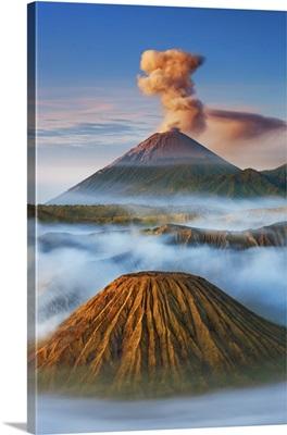 Volcanic Landscape With Semeru, Batok, Indonesia, Java, Tengger Caldera, Sunda Arc