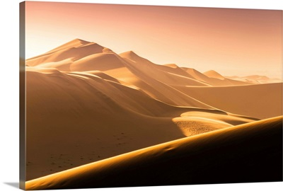 Walvis Bay, Namibia, Africa. Tourist. Sand Dunes At Sunset.