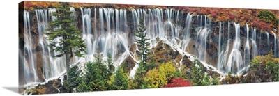 Waterfall Nuorilang And Forest, China, Sichuan, Jiuzhaigou, Nuorilang Waterfall