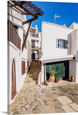 Whitewashed Houses In Binibeca Vell, Menorca Or Minorca, Balearic Islands, Spain