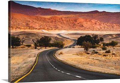 Winding Paved Road Among The Sand Dunes, Namib-Naukluft National Park, Namibia, Africa