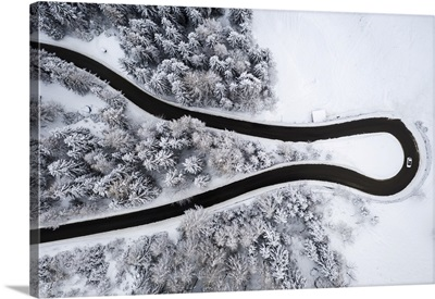 Winding Road Of The Presolana Pass After A Winter Snowfall, Lombardy, Italy