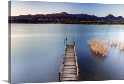 Windy sunset on Lago di Alserio, Monguzzo, Como district, Lombardy, Italy