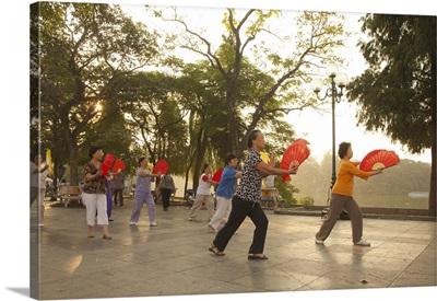 Women performing Thi Chi near Hoan Kiem Lake, Old Quarter, Hanoi, Vietnam