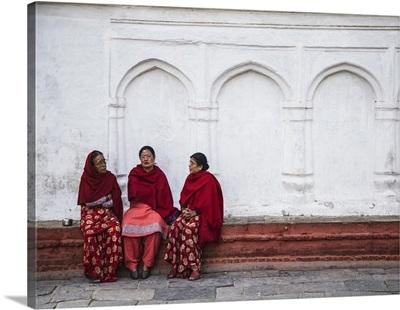 Women sitting in Durbar Square, Kathmandu, Nepal