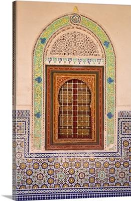Wood carving and stucco work in a window at the Zaouia Naciri, Morocco