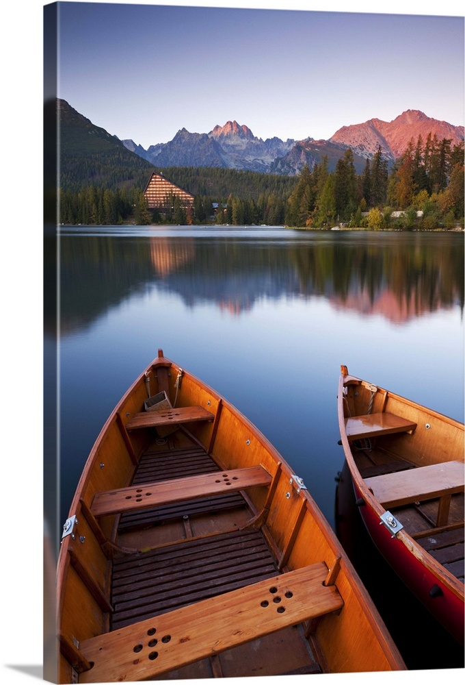 Wooden Boats On Strbske Pleso Lake In The Tatra Mountains Of Slovakia Wall Art Canvas Prints Framed Prints Wall Peels Great Big Canvas