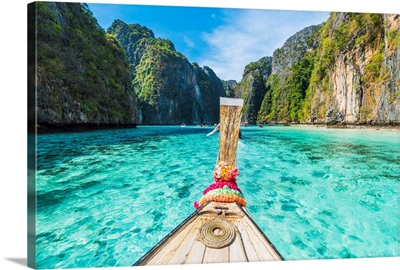 Wooden Bow Of A Long Tail Boat In Turquoise Waters, Pileh Lagoon, Thailand