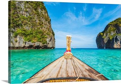 Wooden Bow Of A Long Tail Boat, Maya Bay, Ko Phi Phi Leh, Krabi Province, Thailand