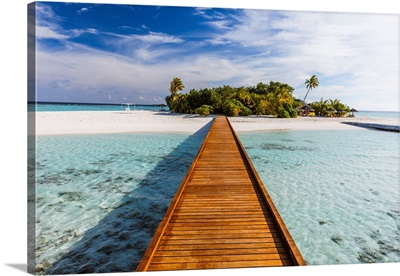 Wooden Jetty To A Tropical Island, Maldives