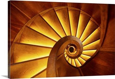 Wooden Spiral Stairs In The NebotioNik Building, Ljubljana, Slovenia