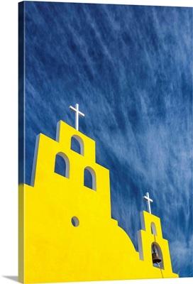 Yellow Church And Blue Sky, Yucantan Peninsula, Mexico