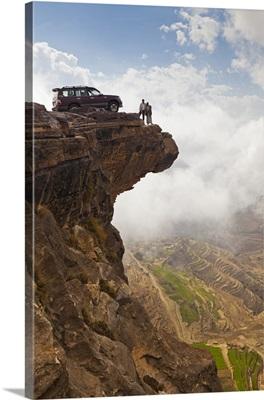 Yemen, Sana'a Province, Bokhur Plateau. A car perched on a cliff top