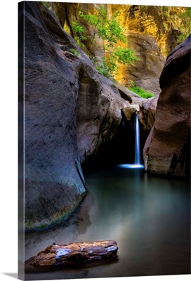 A waterfall in The Narrows, Zion National Park, Utah