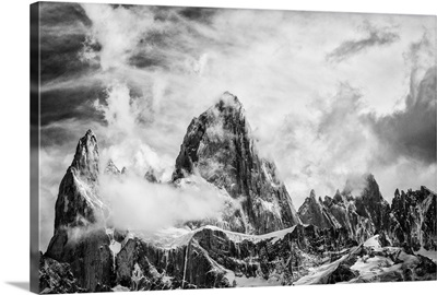 Dramatic Clouds Swirl Over Over Monte Fitz Roy, Patagonia, Argentina