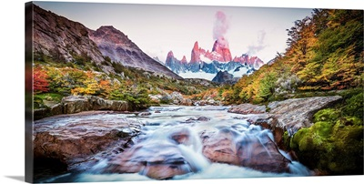 Fall Color Blankets Patagonia's Rugged Landscape, Patagonia, Argentina