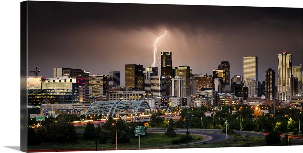 Lightning Strikes The Denver Skyline During A Summer Storm Colorado Wall Art Canvas Prints Framed Prints Wall Peels Great Big Canvas