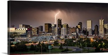 Lightning Strikes the Denver Skyline During a Summer Storm, Colorado