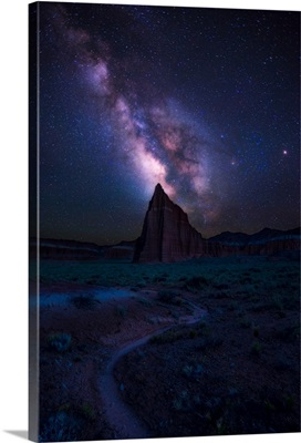 Milky Way and Temple of the Sun Align, Capitol Reef National Park