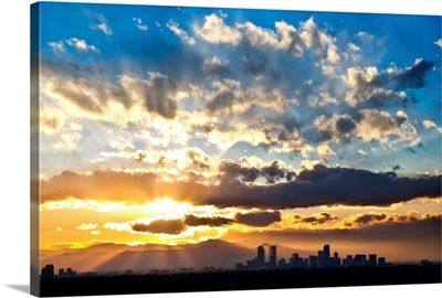 Sun Bursts over Denver during Sunset, Denver, Colorado