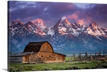 Sun Rises Over Mormon Barn, Grand Teton National Park, Wyoming