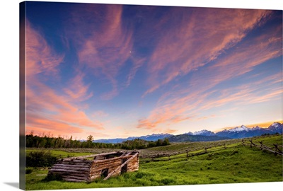 Sun Sets Over An Abandoned Ranch with Snow Capped Tetons, Jackso