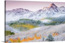Sunrise Illuminates the Peak and Snow, Mount Sneffels Range, Dallas Divide, CO