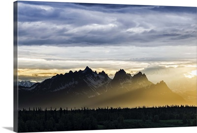Sunset Sidelight Illuminates the Alaskan Range; Denali National Park, Alaska