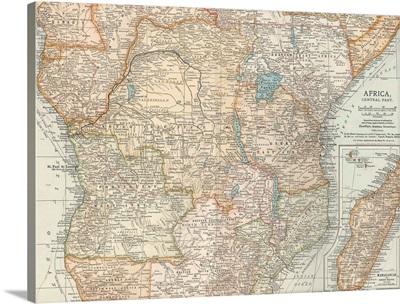 Africa, Central Part - Vintage Map