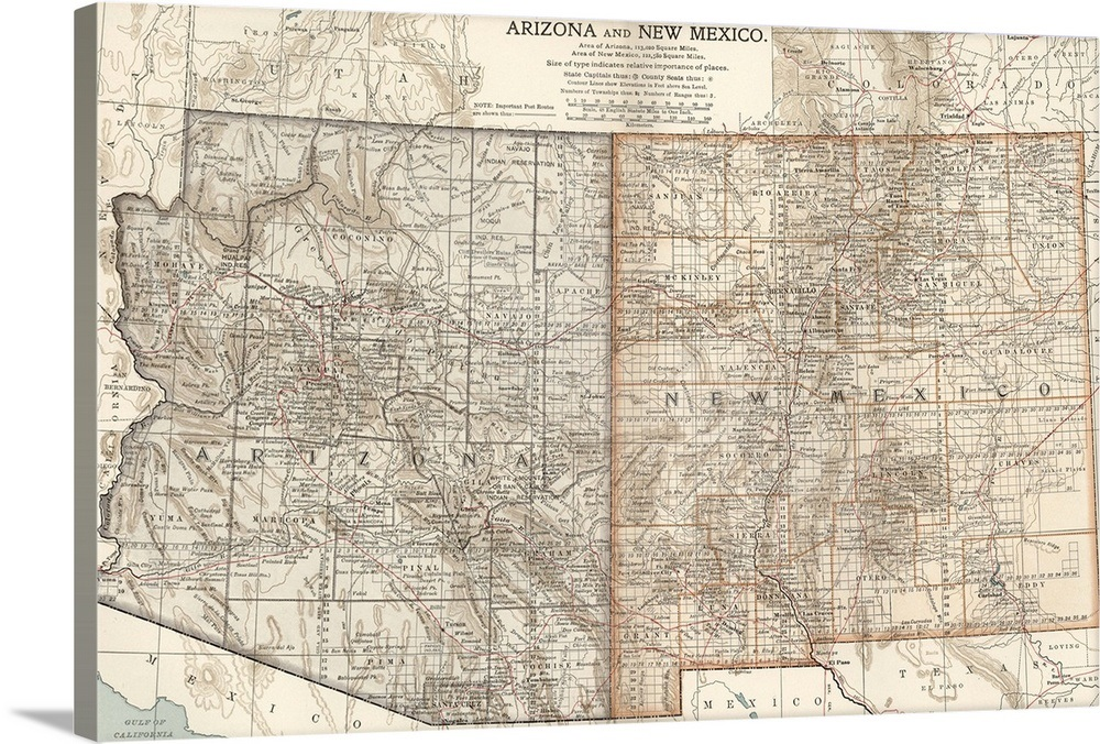 Arizona and New Mexico - Vintage Map
