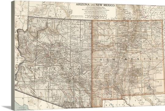 Arizona and New Mexico - Vintage Map Wall Art, Canvas Prints ...