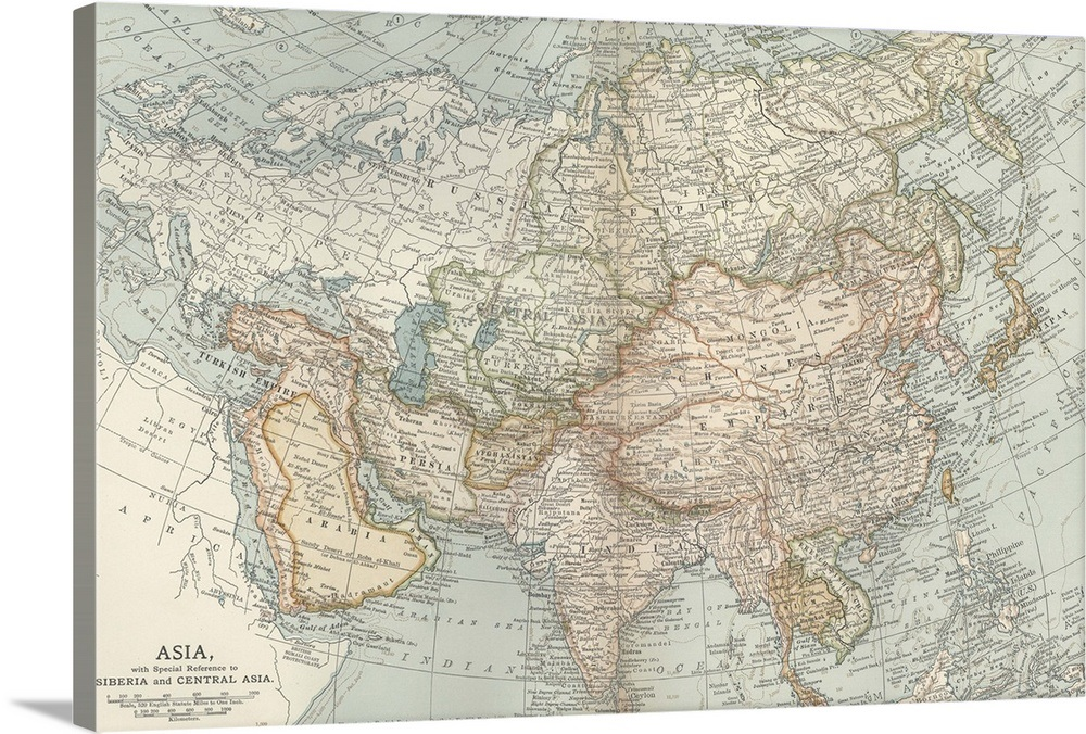 Asia Map Siberia.Asia Siberia And Central Asia Vintage Map Wall Art Canvas Prints