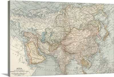 Asia, Siberia and Central Asia - Vintage Map