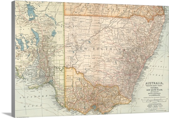 australia south east part vintage map