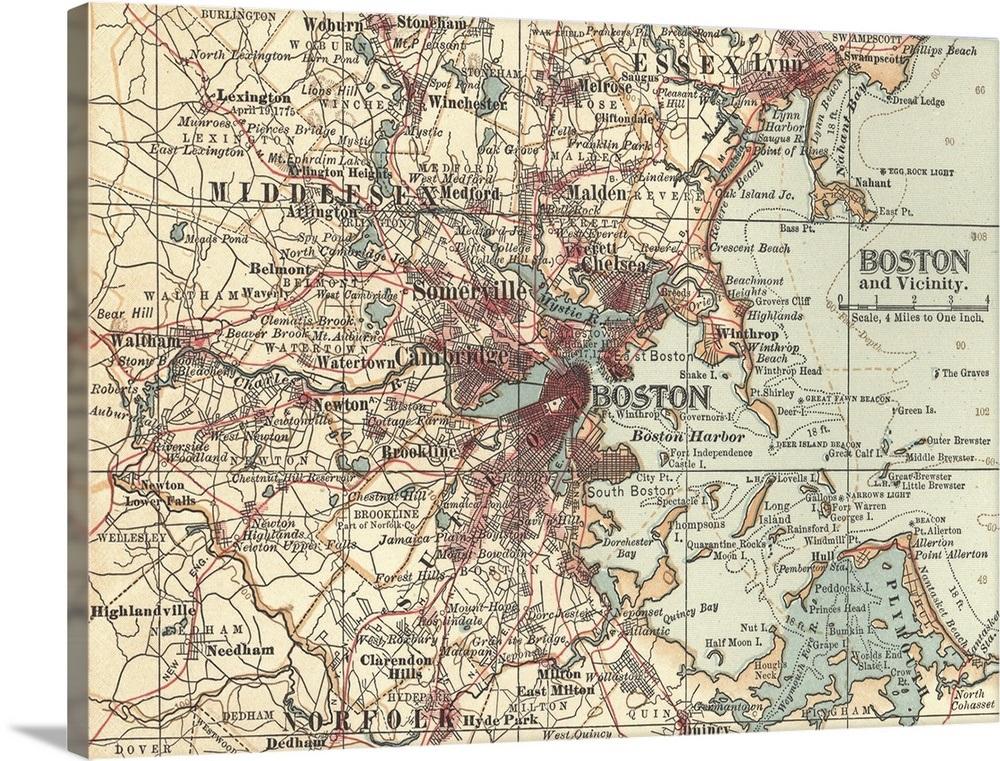 Boston Vintage Map Wall Art Canvas Prints Framed Prints Wall