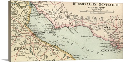 Buenos Aires, Montevideo, and Vicinity - Vintage Map