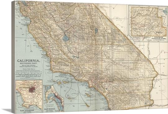 California Southern Part Vintage Map Wall Art Canvas Prints