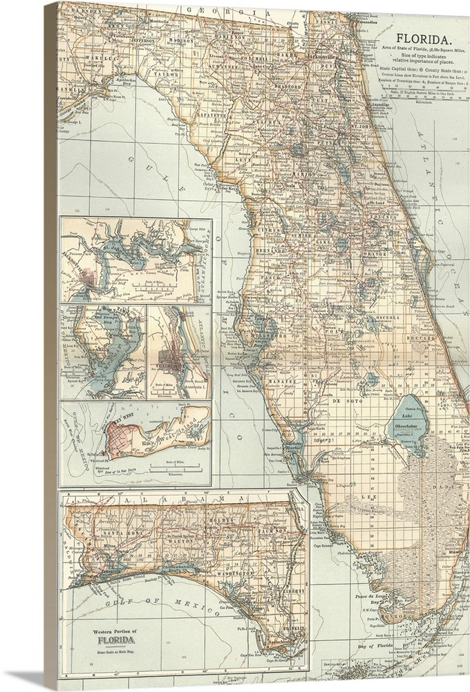 Central Florida - Vintage Map Wall Art, Canvas Prints, Framed Prints on