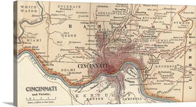 Cincinnati - Vintage Map