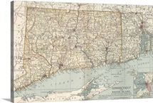 Connecticut and Rhode Island - Vintage Map