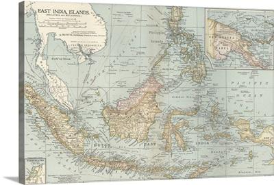 East India Islands, Malaysia and Melanesia - Vintage Map