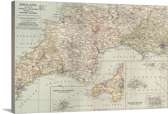 Map Of England Vintage.England And Channel Islands Vintage Map Wall Art Canvas Prints
