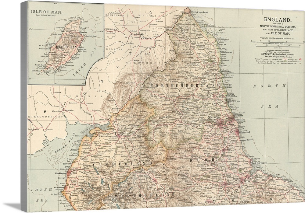 Map Of England Vintage.England And Isle Of Man Vintage Map Wall Art Canvas Prints
