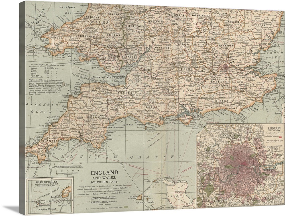 Map Of Southern England And Wales.England And Wales Southern Part Vintage Map