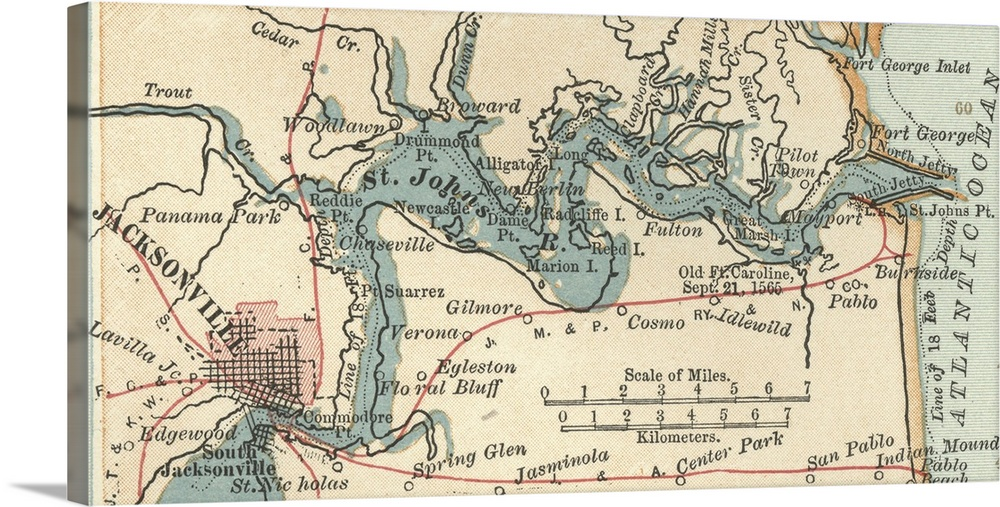 Jacksonville and St Johns River Vintage Map Wall Art Canvas