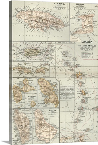 Jamaica And The Lesser Antilles Vintage Map Wall Art Canvas - Vintage map of jamaica