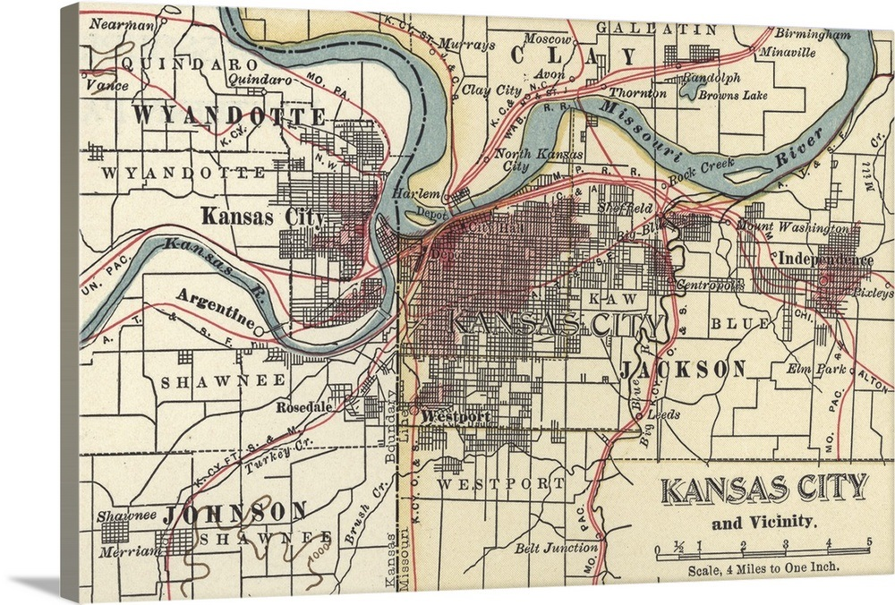Kansas City - Vintage Map Wall Art, Canvas Prints, Framed Prints ...