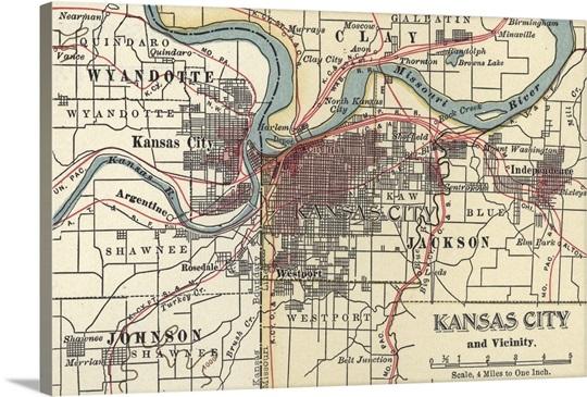 Kansas City Wall Art kansas city - vintage map wall art, canvas prints, framed prints