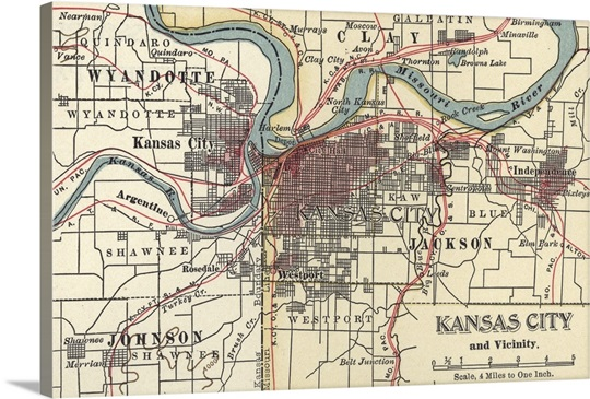 Kansas City Vintage Map Wall Art Canvas Prints Framed Prints - Kansas city map