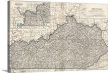 Kentucky - Vintage Map